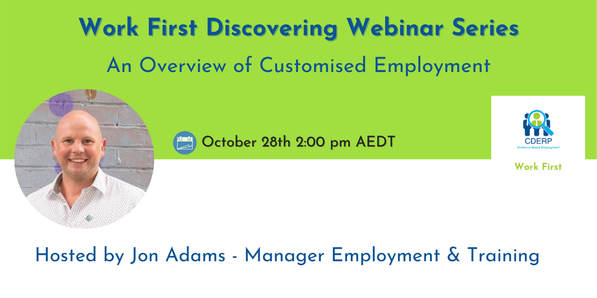Work First Webinar, JonAdams, CDERP